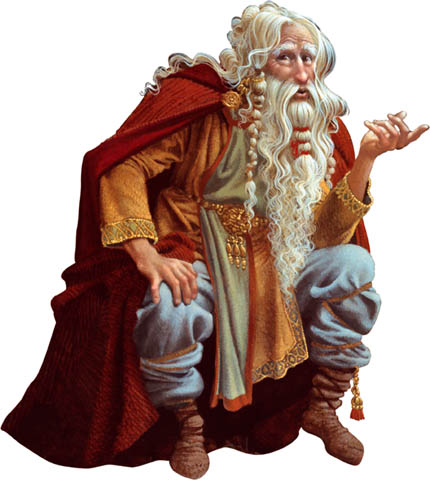 Cartoon image of old bearded storyteller